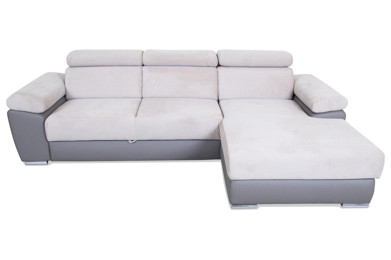 Sofa mebloexpo Ecksofa Grenada - mit Schlaffunktion - Braun - Kunstleder / Webstoff Braun