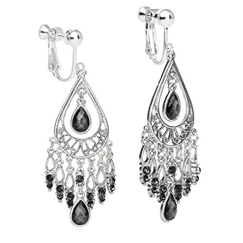 - Clip on Dangle Vintage Tassel Earring Long Drop Screw Back for non Pierced Girl Indian Fashion Black