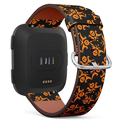 Compatible with Fitbit Versa - Leather Watch Wrist Band Strap Bracelet with Quick-Release Pins (Ghosts Halloween)