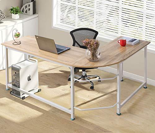 ModernLuxe WF036968LAA L-Shape Home Office Corner Computer Desk PC Laptop Table Workstation Wood & Metal (Oak) ()
