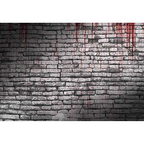 Laeacco Halloween Background 10x8ft Bloody Brick Wall Vinyl Photography Backdrop Gray Brickwork Haunted House Creepy Party Cosplay Costume Party Masked Ball Holiday Kids Photo Prop Video Wallpaper]()