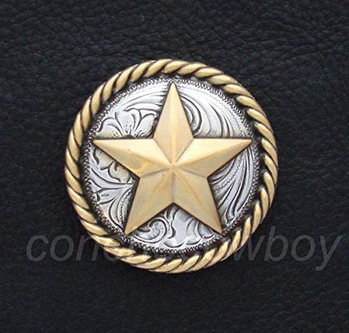 Conchos for Clothes Western Horse TACK Antique Gold Round Rope Edge Star Concho 1-1/2