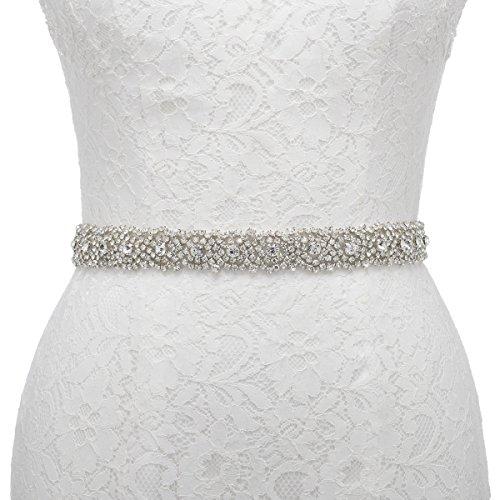 Remedios Handmade Dazzling Rhinestone Wedding Party Prom Sash Bridal Belt For Women,White by Remedios