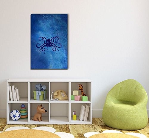 Abstract Octopus Swimming Under The Deep Ocean