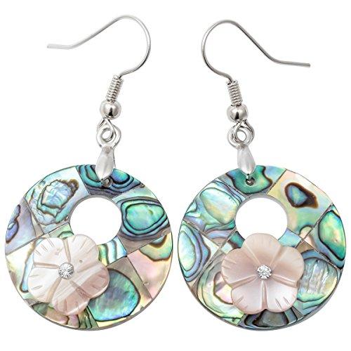 Szxc Jewelry Women's Sea Abalone Shell Flower Drops Dangle Earrings (Green)