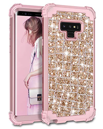 Hekodonk Compatible Galaxy Note 9 Case, 3D Luxury Sparkle Glitter Shiny Heavy Duty Shockproof Full-Body Protective Cover High Impact Armor Hybrid Case for Samsung Galaxy Note 9 - Bling Rose Gold