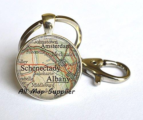 Charming Keychain,Albany, Schenectady Key Ring, Albany map Key Ring, Schenectady map Key Ring, Amsterdam NY, map - Salem Oregon Glasses