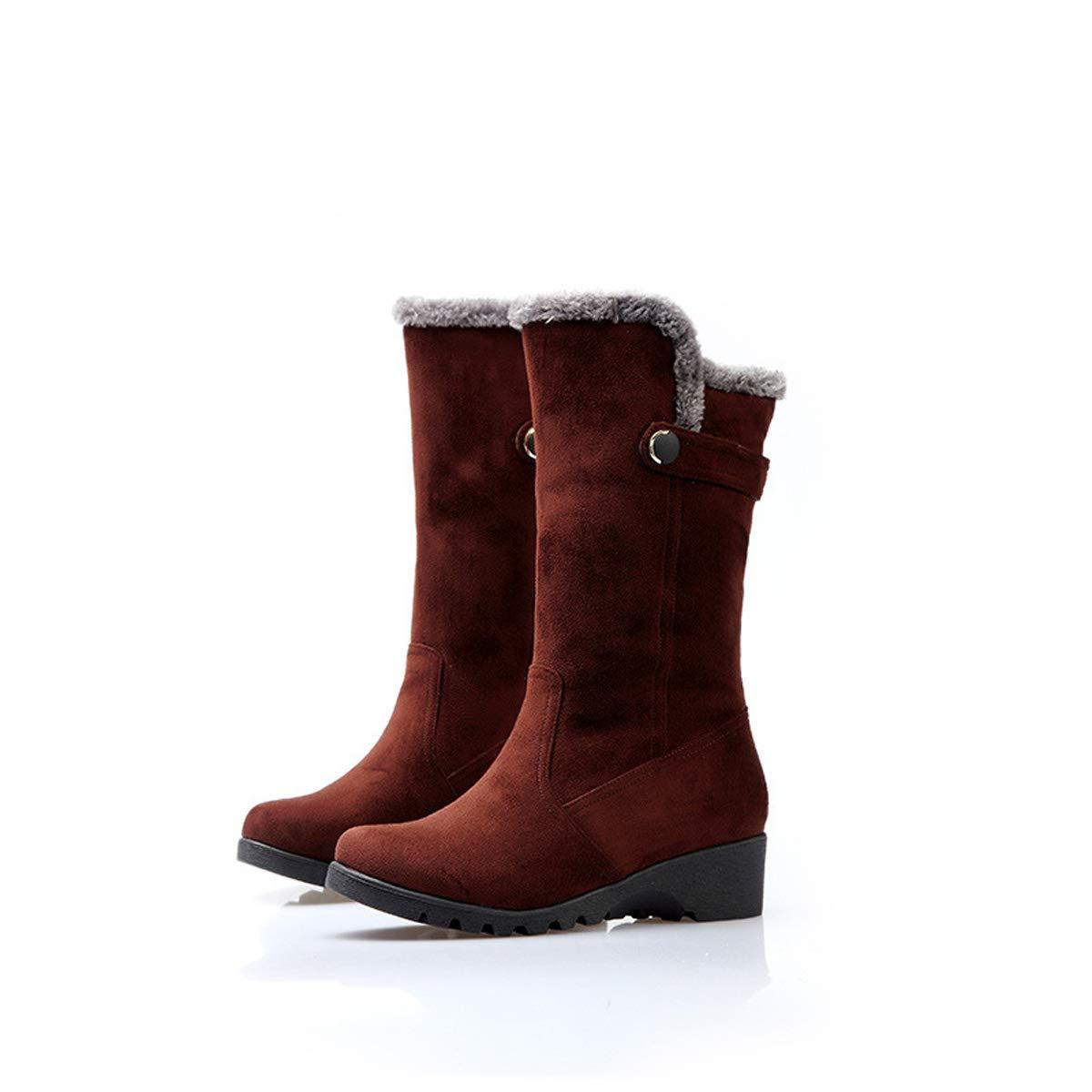 DANDANJIE Damen Stiefel Winter warm weich Mitte der Wade Reitstiefel Slip On Keilabsatz Outdoor Schuhe (Schwarz Braun),B,35EU