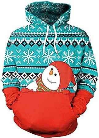 Unisex Christmas 3D Digital Printed Sweatshirt Long Sleeve Casual Hoodies Streetwear Pullover Coats Blue and red SB101-026
