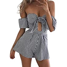 RAISINGTOP Women Plaid Off Shoulder Bow Shorts Romper Sexy Slim Summer Playsuits Jumpsuit Teenagers Jumpers Suits