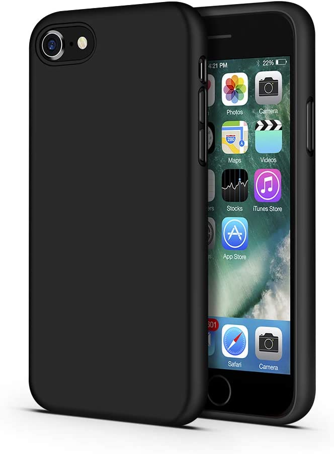 ImpactStrong iPhone SE 2020 Case/iPhone 7/8 Case, Silicone Heavy Duty Liquid Gel Shockproof Case with Soft Microfiber Cloth Cushion for iPhone 7/8 and iPhone SE 2020 (2nd Generation) - Black