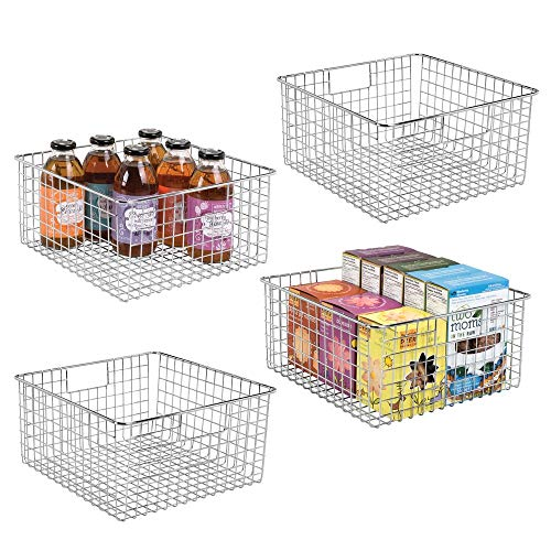 mDesign Farmhouse Decor Metal Wire Food Storage Organizer, Bin Basket with Handles for Kitchen Cabinets, Pantry, Bathroom, Laundry Room, Closets, Garage - 12 x 12 x 6 - 4 Pack - Chrome