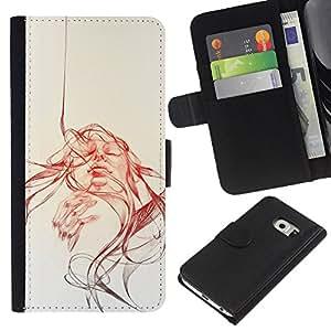 LECELL--Cuero de la tarjeta la carpeta del tirón Smartphone Slots Protección Holder For Samsung Galaxy S6 EDGE -- Cara Remolino --