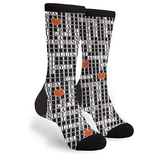 (Classic Durable Mid Calf Knee Stockings Dress Socks Newfoundland Dog Crossword Puzzle Breathable Fashion Travel Socks Bowling Softball Field Hockey Rugby)