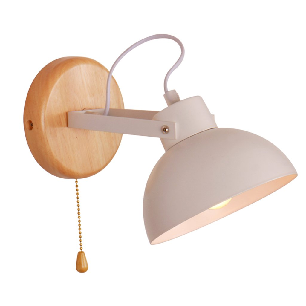 LIN XIAO HAO mayu Reading Wall Sconces Pull Chain Switch E27 Wall Lamp Metal + Wood bedside bedroom Living Room Wall Light