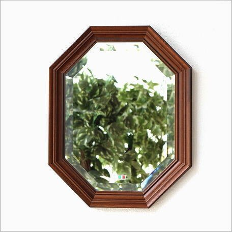 八角形鏡 壁掛けミラー イタリア製 木製 玄関 リビング 風水 ウッド八角ミラーA [ebn7393] B01G4UI1H8