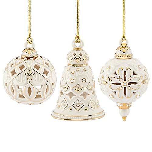 Ornament Pearl Bell - Lenox Florentine & Pearl Ornament Set 3 Piece Ball Bell Spiral