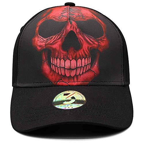 (Ann Lloyd Custom Baseball Cap Skull Printed Baseball Hat Adjustable Hat (Red Skull))