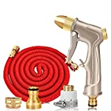 Telescopic water pipe Household watering hose Adjustable water flower Copper gun head 3 times the expansion and contraction Convenient A variety of connectors car wash / Watering flowers , red