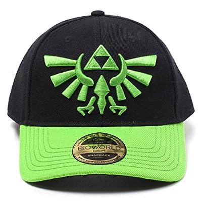 Zelda Baseball Cap Green Hyrule Crest Logo Official Black Curved Bill Snapback by Nintendo Merch
