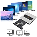 External CD Drive NOLYTH USB 3.0 USB C CD DVD +/-RW Drive Portable CD DVD Player Burner Drive for Laptop/MacBook Air/Pro/Windows