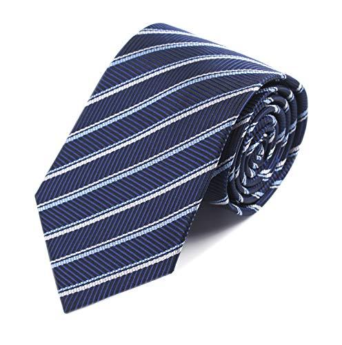 Men's Navy Blue Repp Geometric Striped Tie Trendy Patterned Fashion Suit Necktie ()