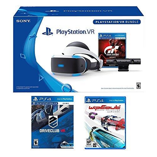 PlayStation VR Racing Complete Bundle (5 Items): PlayStation VR Headset, PSVR Camera, PSVR Gran Turismo Bundle Game, PSVR Wipeout Omega Collection Game and PSVR Driveclub Game
