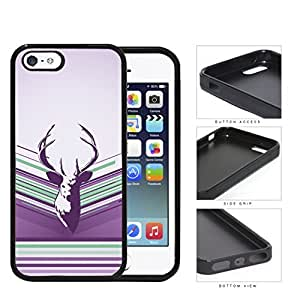 Purple Deer Buck Head Vector with Purple Lilac & Green Stripes iPhone 5 5s Rubber Silicone TPU Cell Phone Case