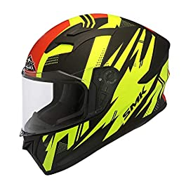 SMK Helmets Men's MA243 Trek Graphics Pinlock Fitted Full Face Helmet with Clear Visor (XL, Multicolour)