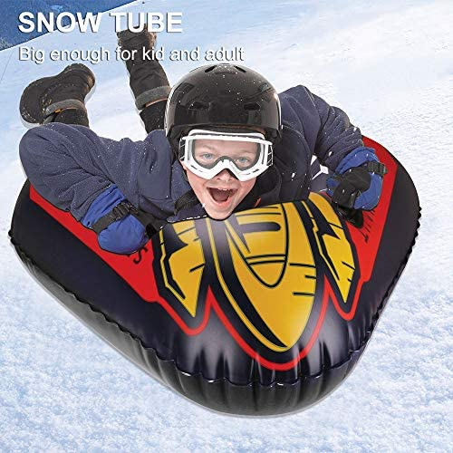 sanyi Snow Tube Heavy Duty Inflatable Snow Sled 47inch 6mm Thickness Material for Highly Tolerant Abrasion Great for Kids and Adults Ideal for Winter Fun
