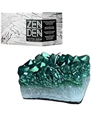 Zen Den Crystal Series - Quartz Crystal Cluster Shaped- Unscented Wax Candle - Handcrafted for Home Décor & Positive Energy