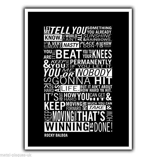 Rocky Balboa Placa Metálica De Pared Diseño Con Texto En