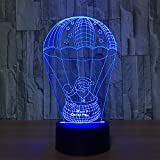 D-Sun Santa Claus Hot Air Balloon 3D Touch Table Desk Lamps, USB Powered 7 Color Changing Lights for Christmas Gift & Home Decoration (Christmas Balloon)