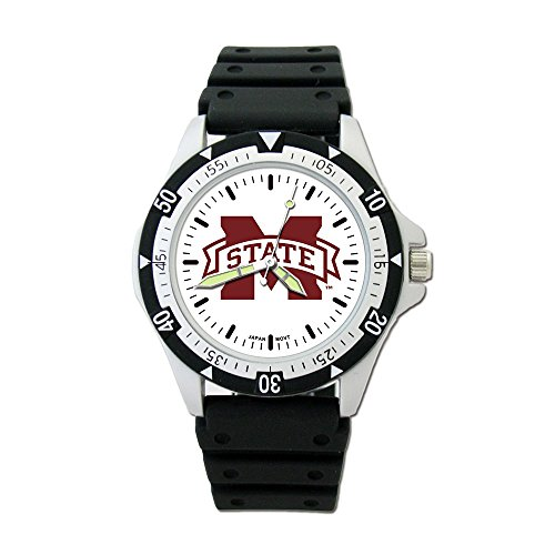 Q Gold Collegiate Mississippi State University Mississippi State UNIV Option Sport Watch with PU Rubber STR