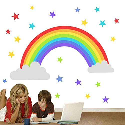 BUCKOO Colorful Rainbow Wall Decal,Cloud Wall Sticker,Colored Stars Wall Sticker for Kids Room Decor Gift, DIY Mural Art Home Decoration