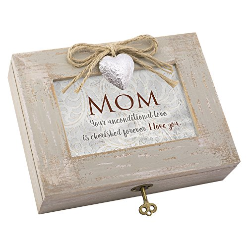 Mom Unconditional Forever Distressed Wood Locket Jewelry Music Box Plays Tune Wind Beneath My Wings ()