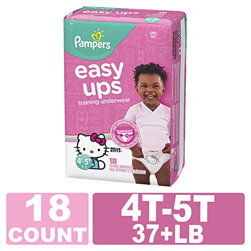Pampers Easy Ups Pull On Disposable Training Diaper for Girls, Size 6 (4T-5T), Jumbo Pack, 18 -