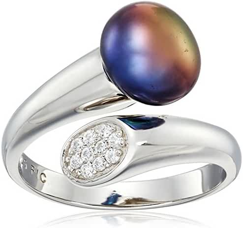 Sterling Silver and 9-9.5mm Dyed Freshwater Cultured High Luster Pearl with Cubic Zirconia Ring, Size 7
