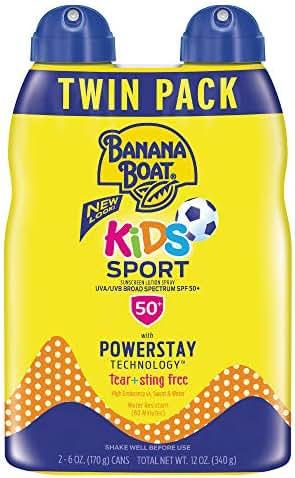 Banana Boat Sunscreen Kids Sport, Tear-Free Broad Spectrum Sunscreen Spray - SPF 50-6 Ounce Twin Pack