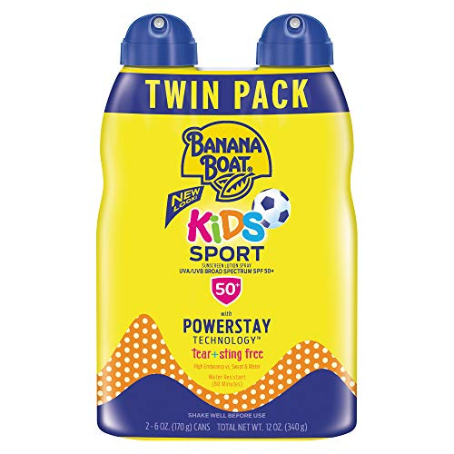 Banana Boat Sunscreen Kids Sport, Tear-Free Broad Spectrum Sunscreen Spray - SPF 50-6 Ounce Twin Pack ()