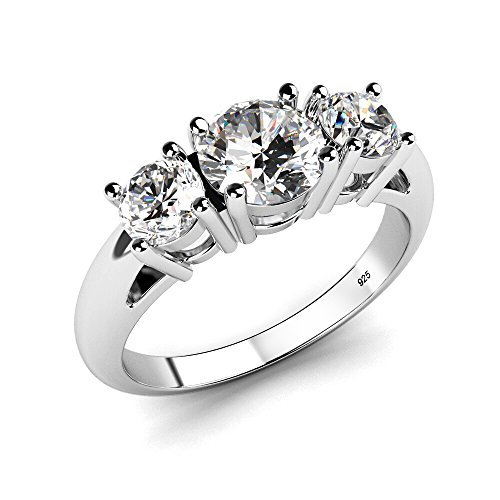 Metal Factory Sz 10 Sterling Silver 925 Cubic Zirconia CZ 3 Stone Engagement Ring ()