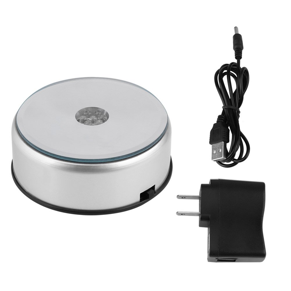 Zerone LED Rotating Display Stand Turntable, LED Colorful Rotating Display Stand Silver Crystal Display Base Holder with AC US Adapter for Jewelry Watch Holder