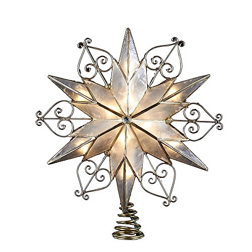 Kurt Adler 10-Light 6-Point Capiz Star Treetop with Scroll Design (Toppers Old Tree Christmas Fashioned)