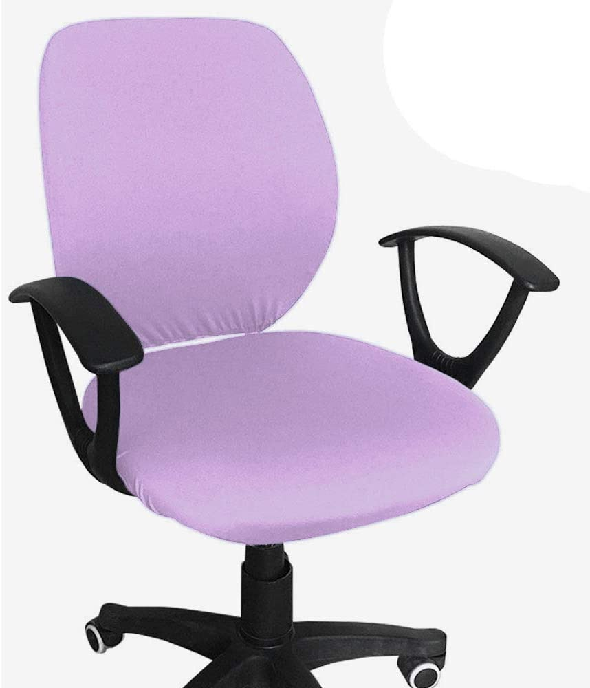 Melaluxe Computer Office Chair Cover - Protective & Stretchable Universal Chair Covers Stretch Rotating Chair Slipcover (Light Purple)