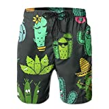 Men's Shorts Swim Beach Trunk Summer Cartoon Funny Cactus Athletic Fashion Shorts with Pockets