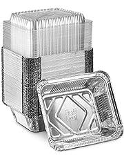 "(50 Pack) Premium 1.5-LB Takeout Pans with Plastic Dome Lids l Medium 7"" x 5"" x 2"" l Heavy Duty Disposable Aluminum Foil for Catering Party Meal Prep Freezer Drip Pans BBQ Potluck Holidays"