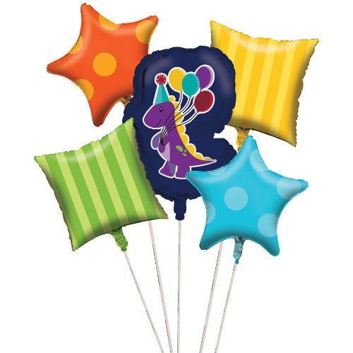 Creative Converting Little Dino Party Metallic Balloon Cluster (5 Piece)