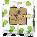 Green Black Dots Flour Sack Towels, Set of 3 - Kay Dee Designs