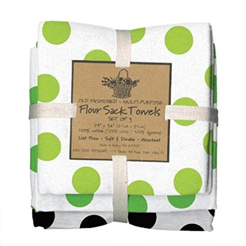 Green Black Dots Flour Towels product image