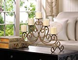 ANTIQUED IRON 5 Candle Holder Rustic Candelabra Stand Centerpiece